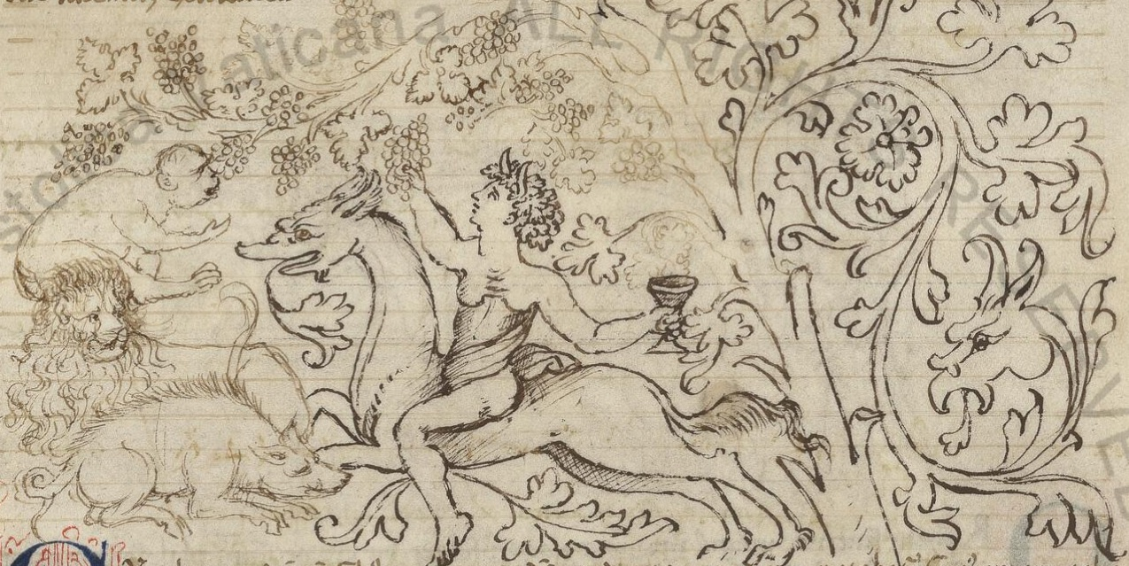 Biblioteca Apostolica Vaticana, Reg. lat. 1290. Bacchus. Tiger. Lion. Wild Boar. Monkey. Grapes. Wine.
