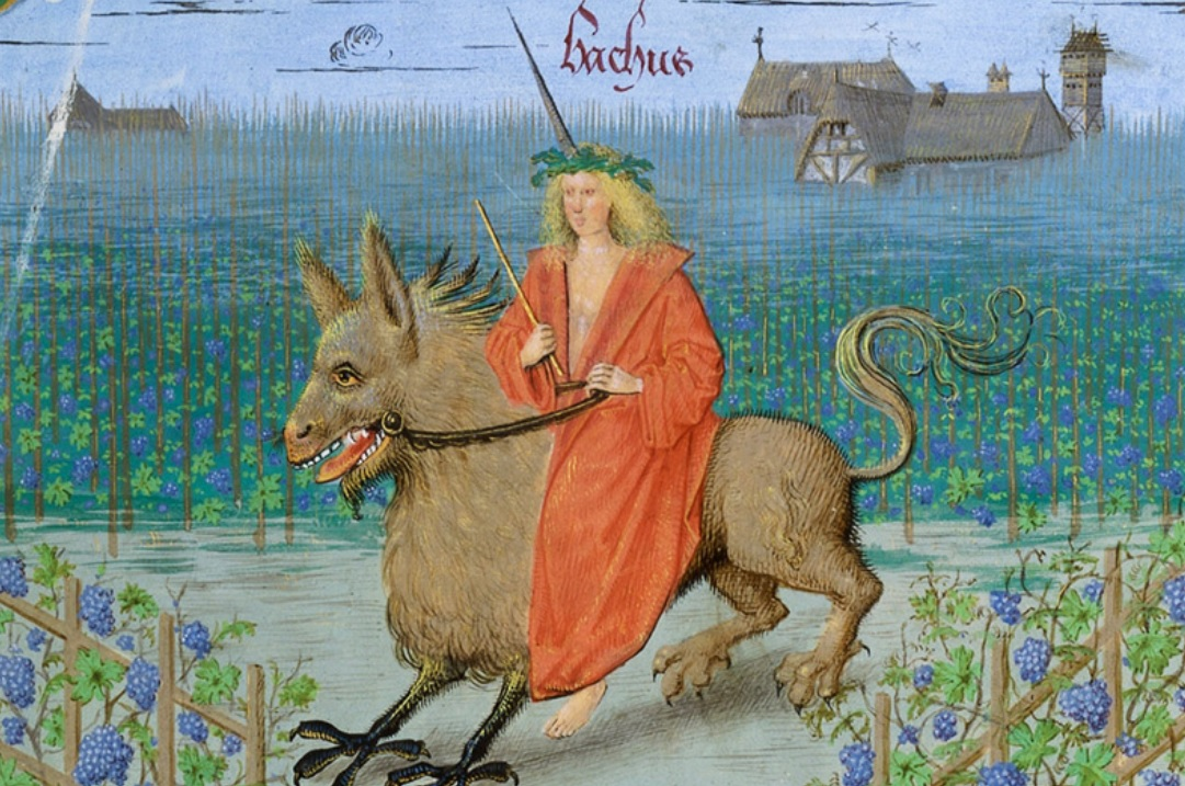 Paris, BnF, français 9197. Bacchus. Griffin. Vineyard.