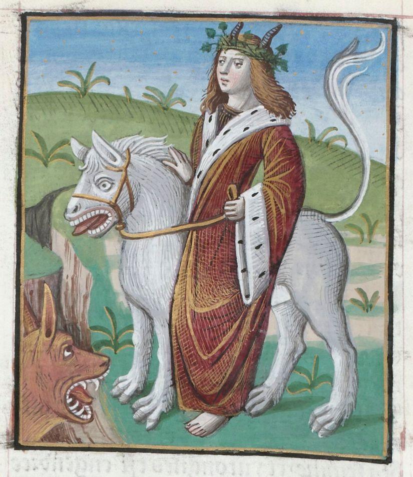 Paris, BnF, Réserve Livres Rares, Vélins 559. Bacchus. Tiger. Mirror.