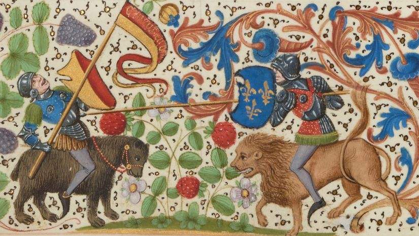 Paris, BnF, français 2643. Knights. Lion. Bear. Margins. Illuminated Manuscript.