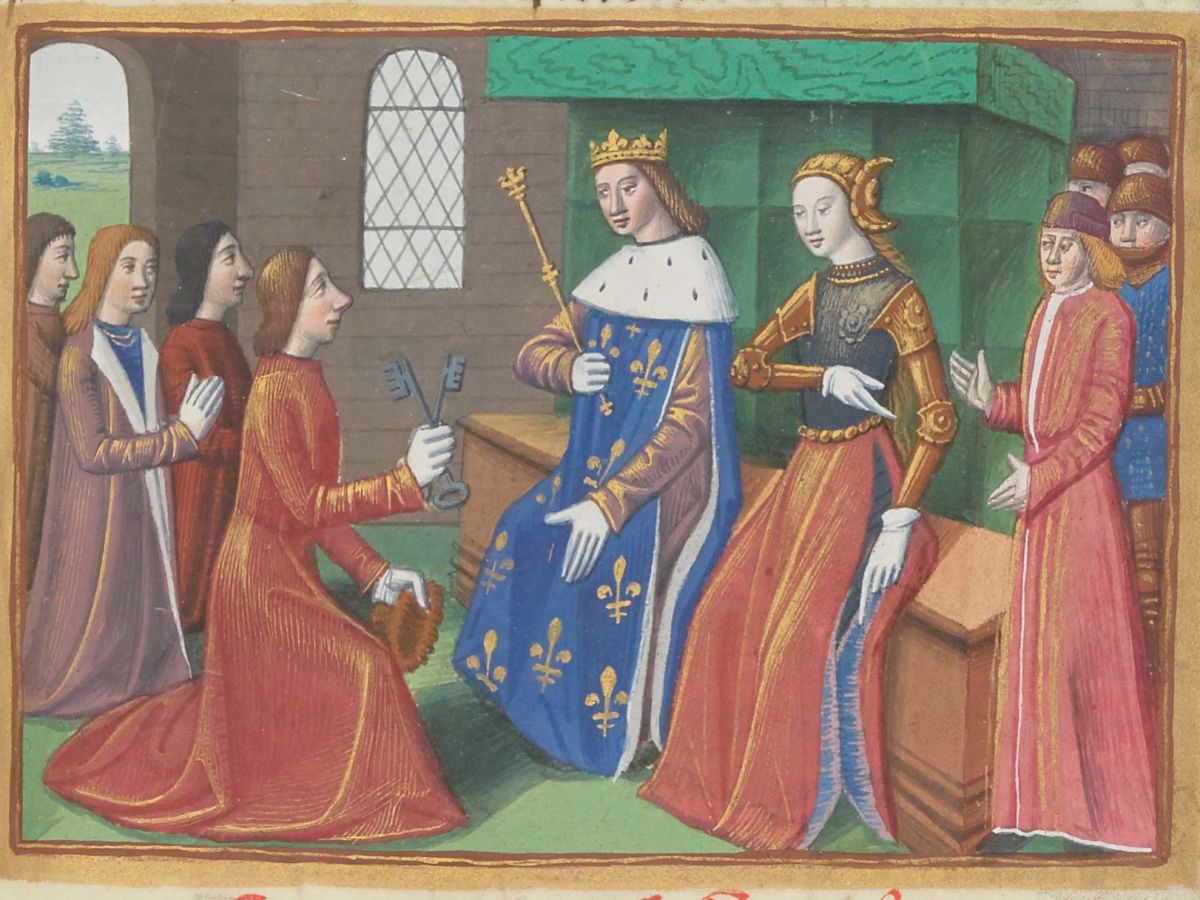 Paris, BnF, français 5054. Martial d'Auvergne. Vigiles de la mort de Charles VII. Jeanne d'Arc. Charles VII. Joan of Arc. Troyes. Illuminated manuscript.