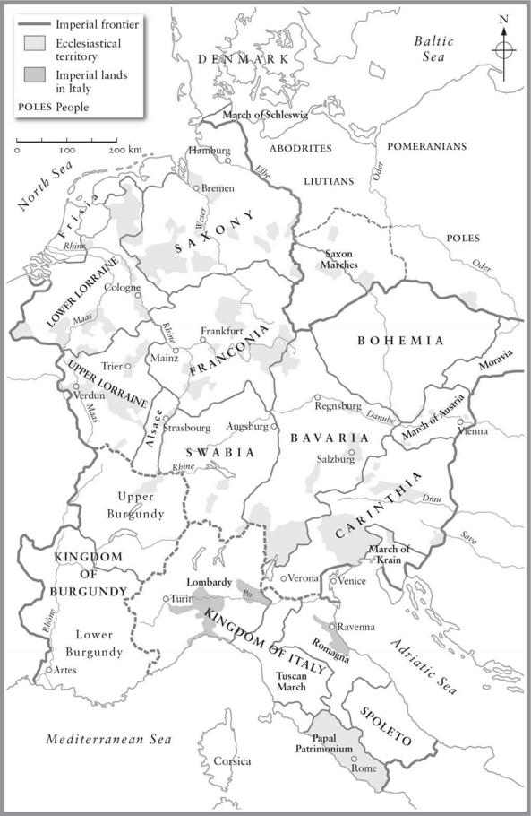 Map of the Holy Roman Empire around 1050. Black and White.