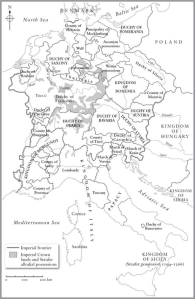 Map of the Holy Roman Empire, around 1195. Black and White.