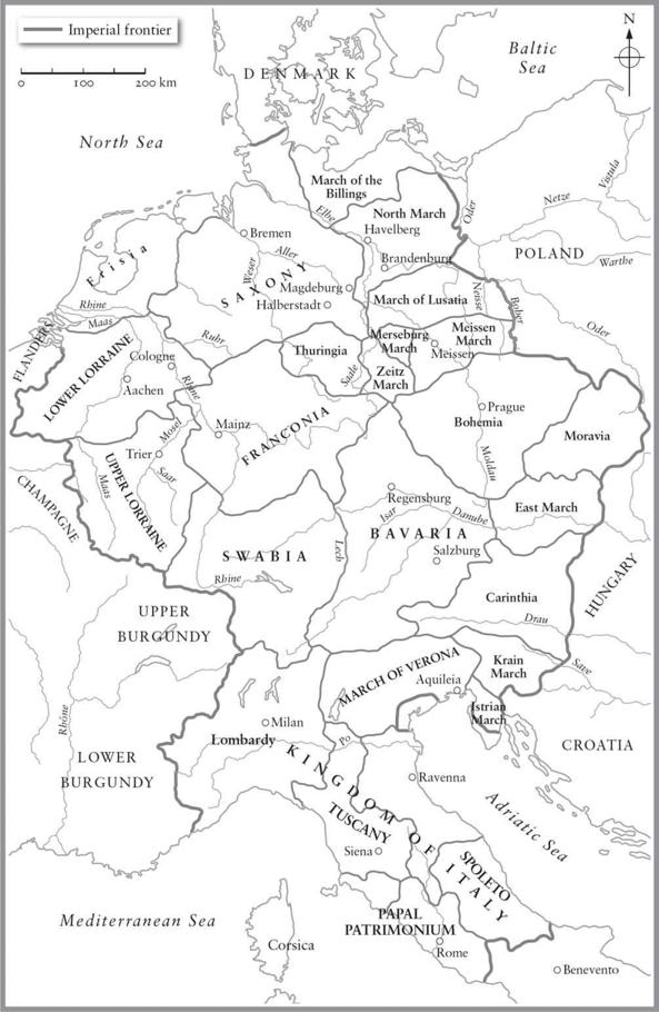 Map of the Holy Roman Empire, around 962.
