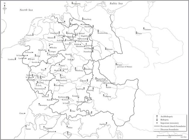 Map of the dioceses (bishoprics) of the Holy Roman Empire, around 1020. Black and White.