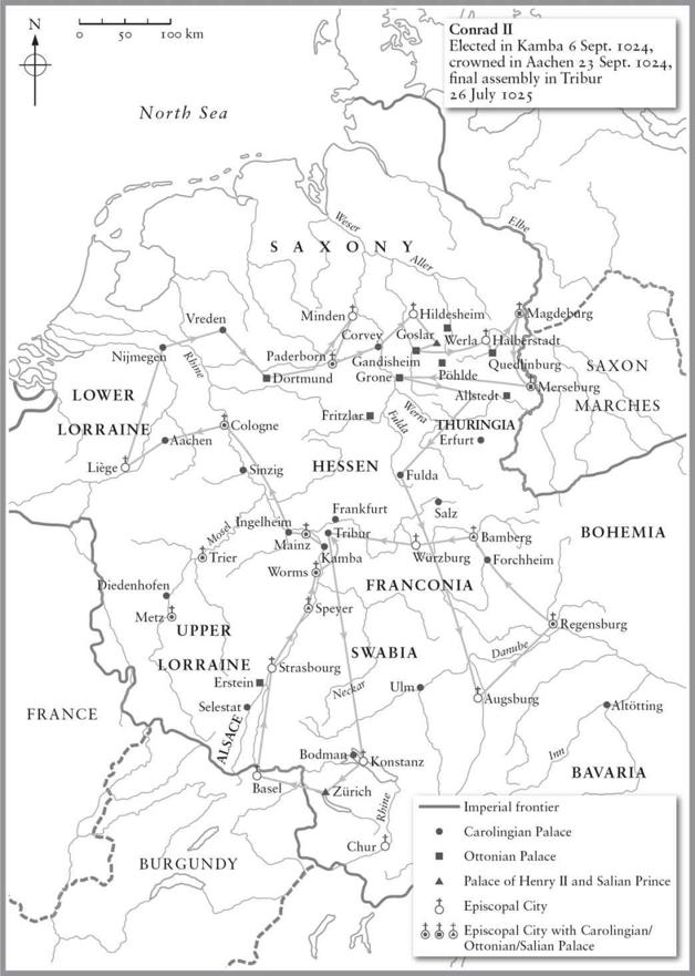 Map of the Imperial and Episcopal Palaces of the Holy Roman Empire around 1025. Black and White.