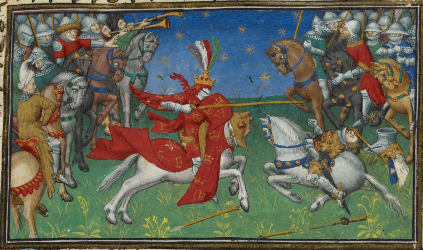 Illuminated Manuscript. Alexander the Great. British Library. Royal MS 20 B XX. Le Roman d'Alexandre en prose.