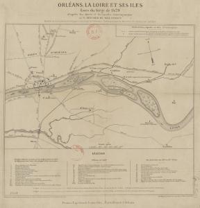 Map. Orléans. 1429. Joan of Arc. Boucher de Molandon. Eugène Moreau.