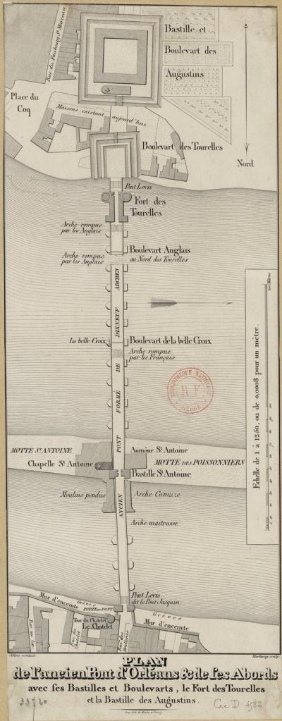 Map. Orléans. 1429. Bridge. Loire. Jollois.