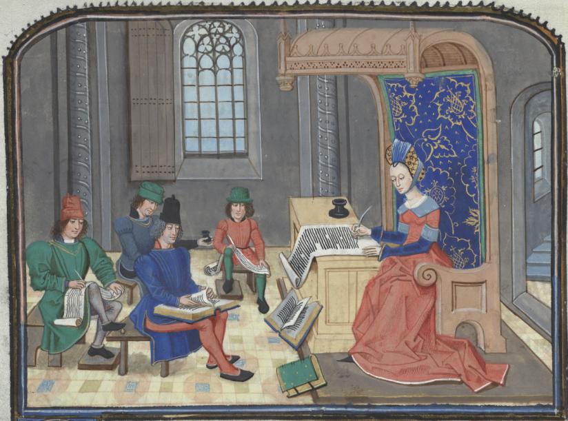 Illuminated Manuscript. Brussels, KBR, ms. 9392. Christine de Pisan. Loyset Liedet. Jean Miélot. Epistre Othea. Classroom. Woman writing.