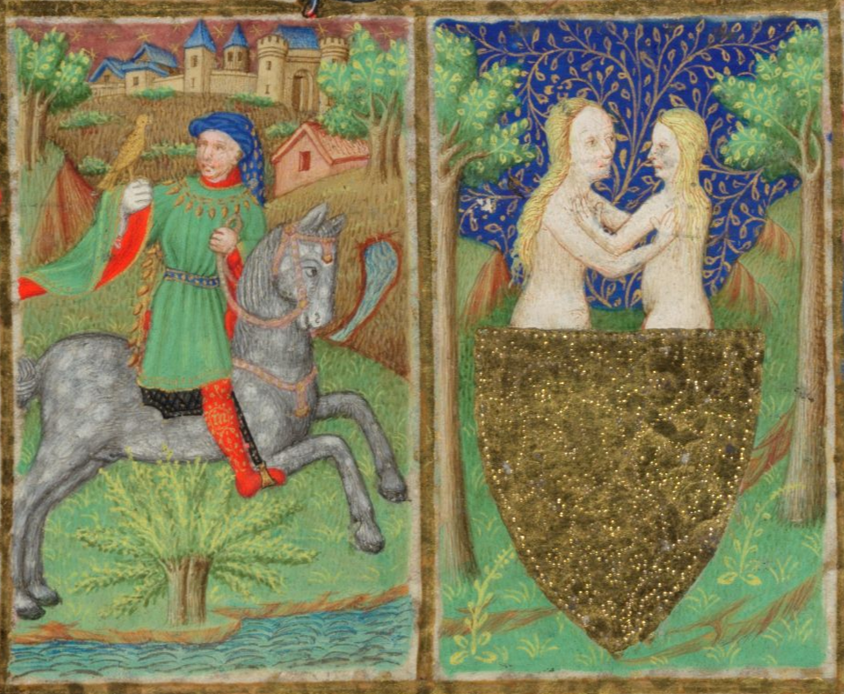 London, BL, Add. 18850, f. 5r. Bedford Hours.  Month of May. Gemini. Falconer