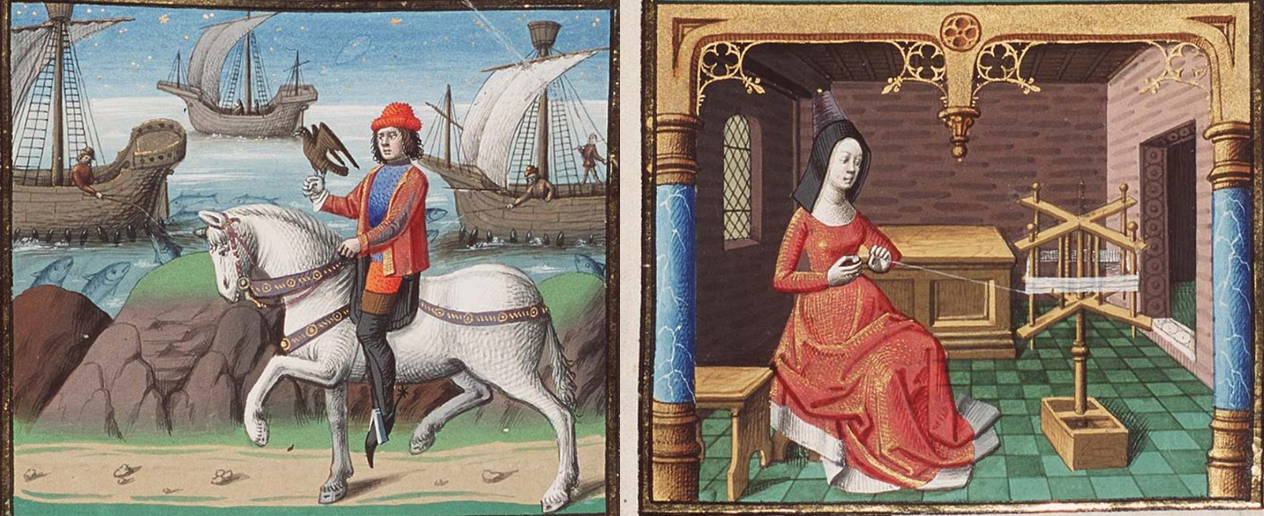 The Hague, MMW, 10 A 11, f. 235r. Augustine, City of God. Raoul de Presles Gender Roles. Falconer. Weaver