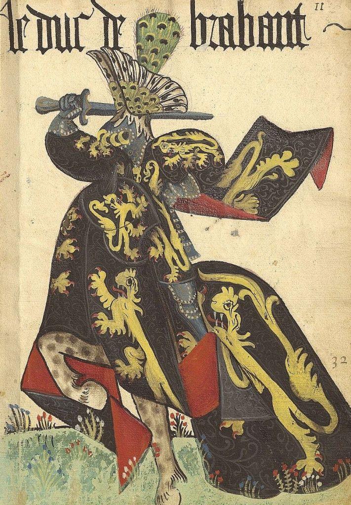 Paris, Arsenal, ms. 4790. Armorial de la Toison d'Or. Duc de Brabant. Duke of Brabant.