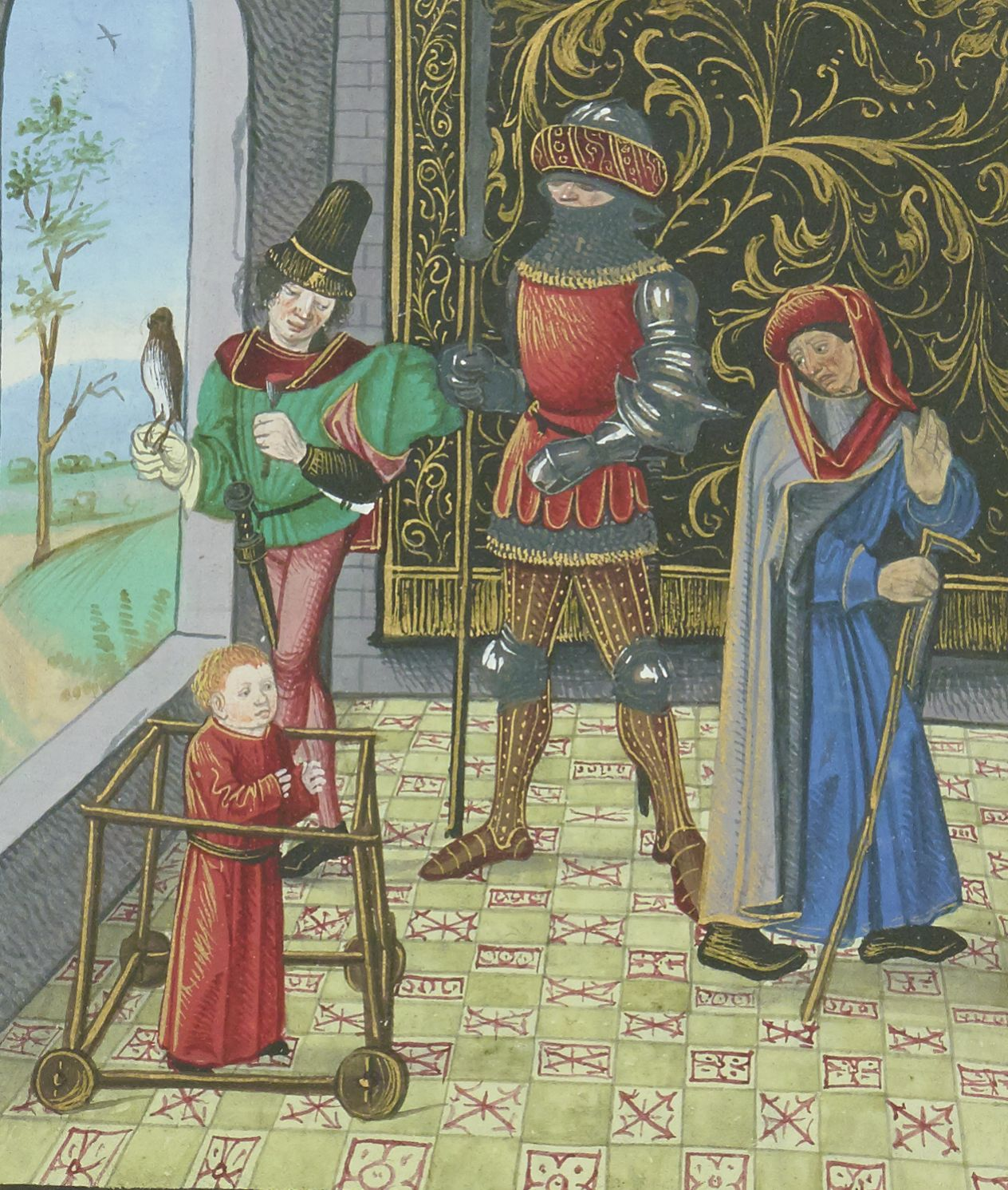 Paris, BnF, fr. 134, f. 92v. Bartholomeus Anglicus, De Proprietatibus rerum. Jean Corbechon Childhood. Teenage years. Adulthood.