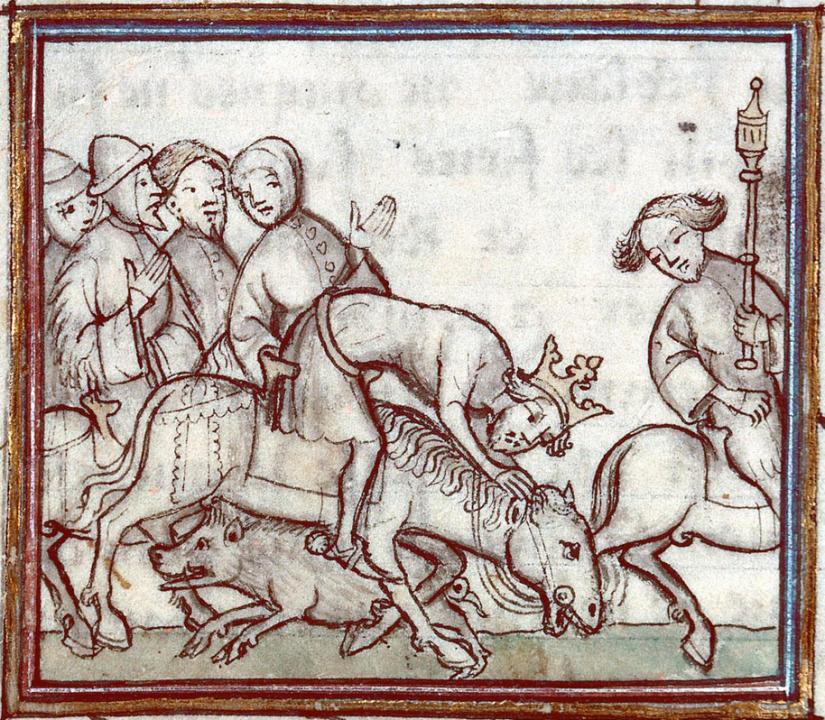 Illuminated manuscript. Bernardus Guidonis. Flores chronicorum.