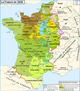 Map. The Kingdom of France in 1030.