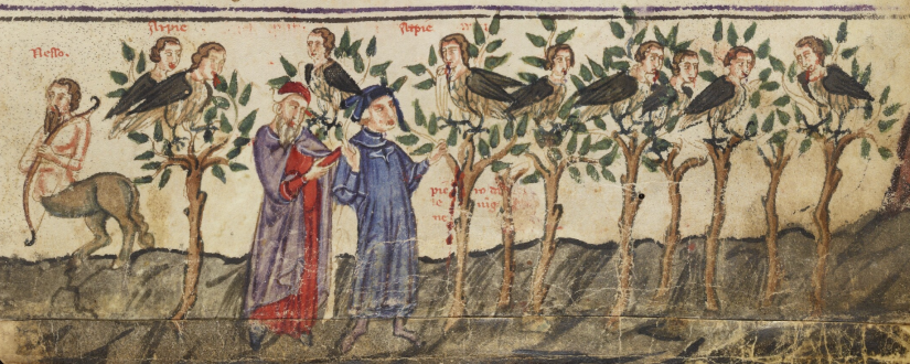 Illuminated Manuscript. Dante. Divine Comedy. Forest of Suicide. Bodleian Library. Holkham Misc. 48.