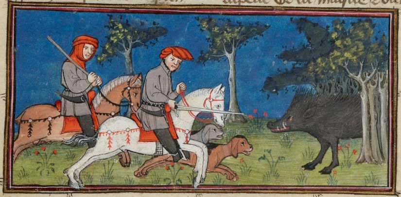 Illuminated Manuscript. Henri de Ferrière. Livres du roy Modus et de la royne Ratio. Wild Boar. Medieval Hunting.
