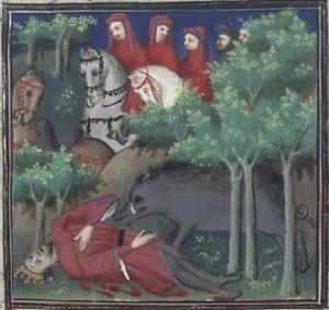 Illuminated manuscript. Giovanni Boccacio. De Casibus Virorum Illustrium. Laurent de Premierfait.