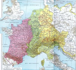 Map. The Carolingian Empire in 843.