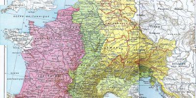 Map. The Carolingian Empire in 843.