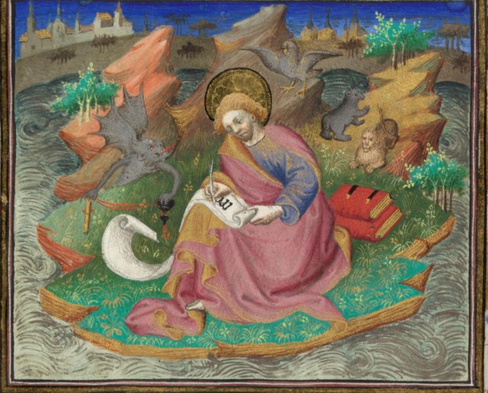 Illuminated Manuscript. St John. Devil. Apocalypse. Patmos