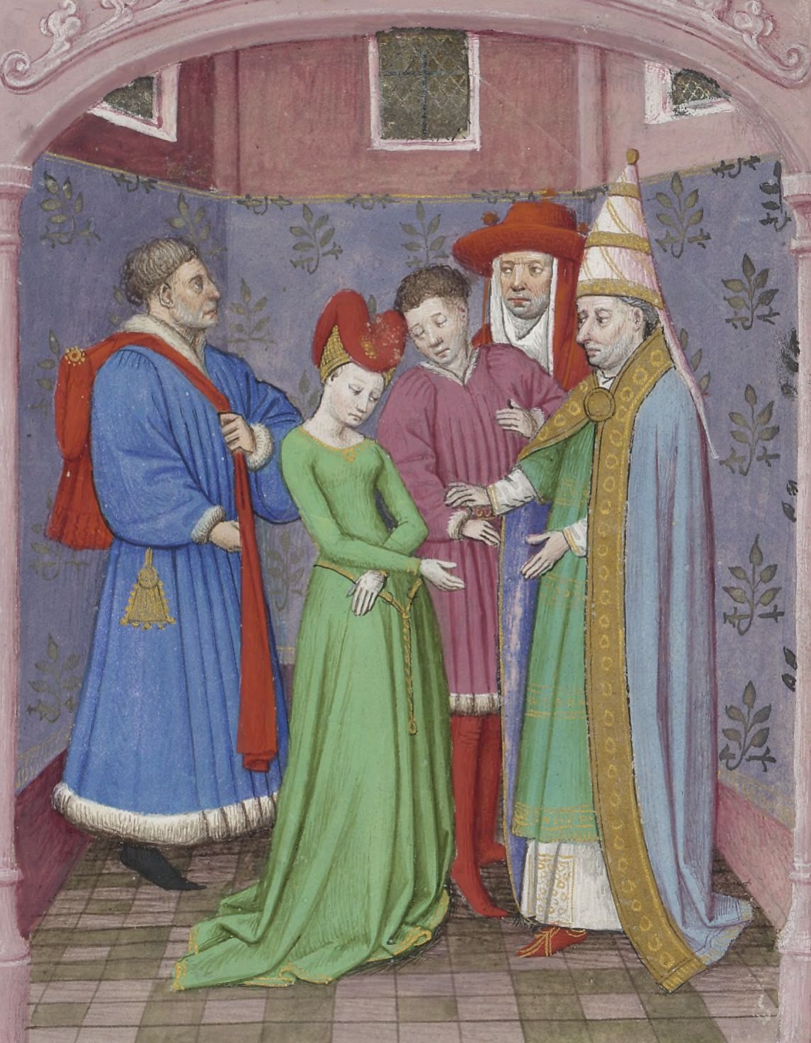 Illuminated manuscript. Wedding. Decameron.