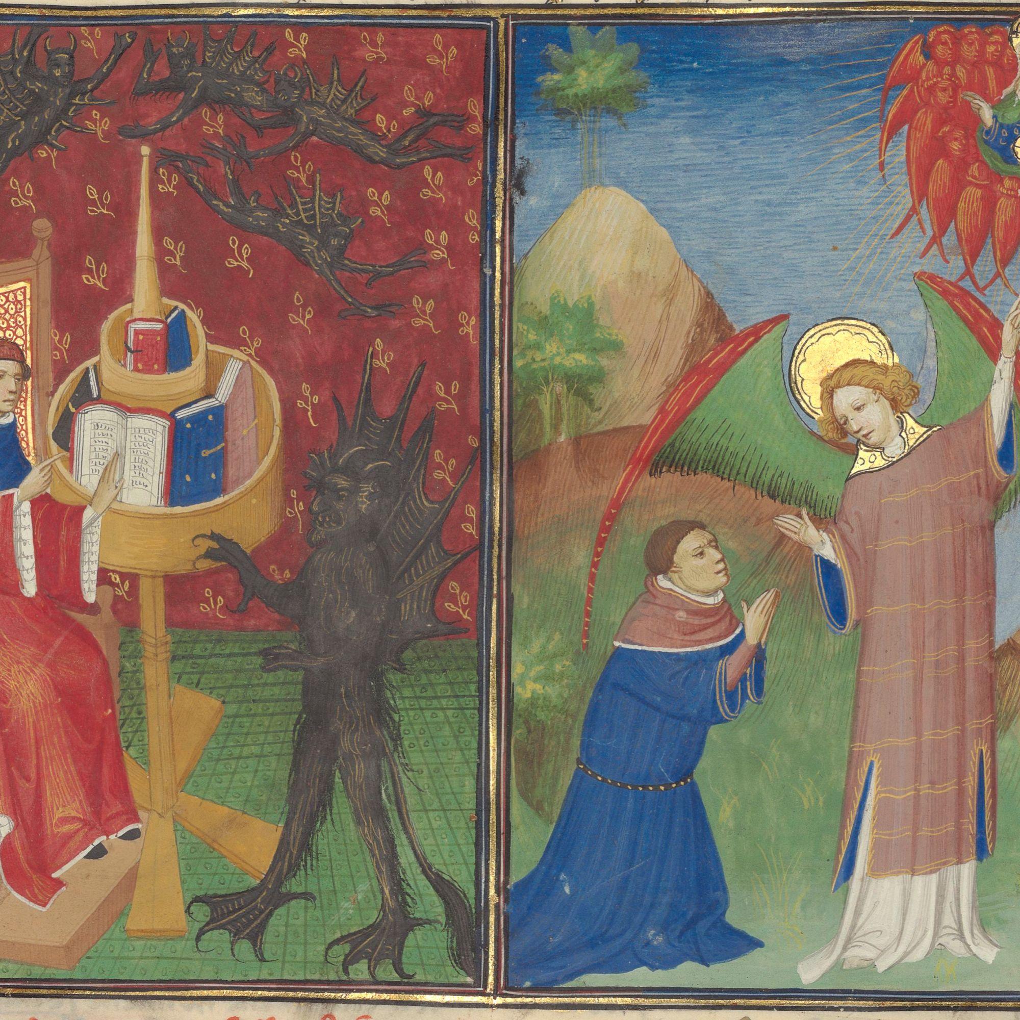 Illuminated manuscript. Devil. Angels. Seraphs