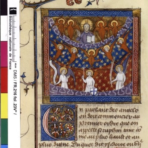 Illuminated manuscript. God. Angels. Seraphs.