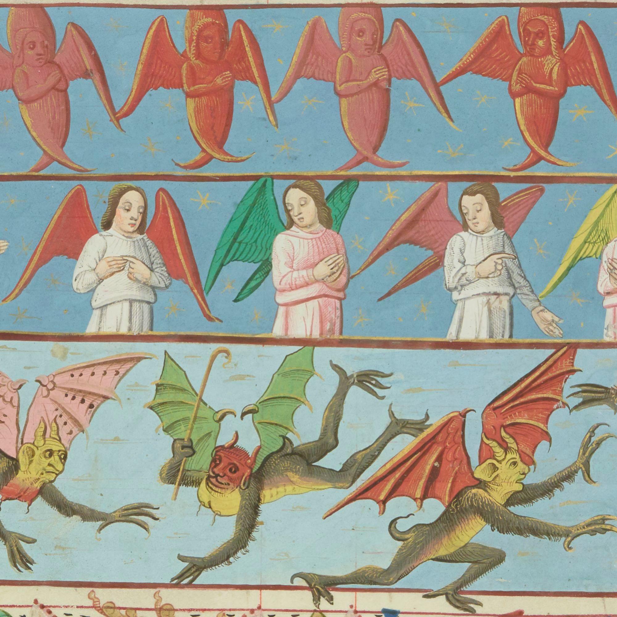 Illuminated manuscript. God. Angels. Seraphs.