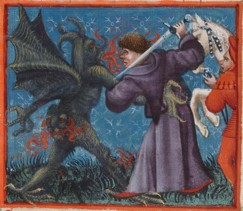Illuminated manuscript. Medieval manuscript. Devil. Cistercian lay brother. BnF