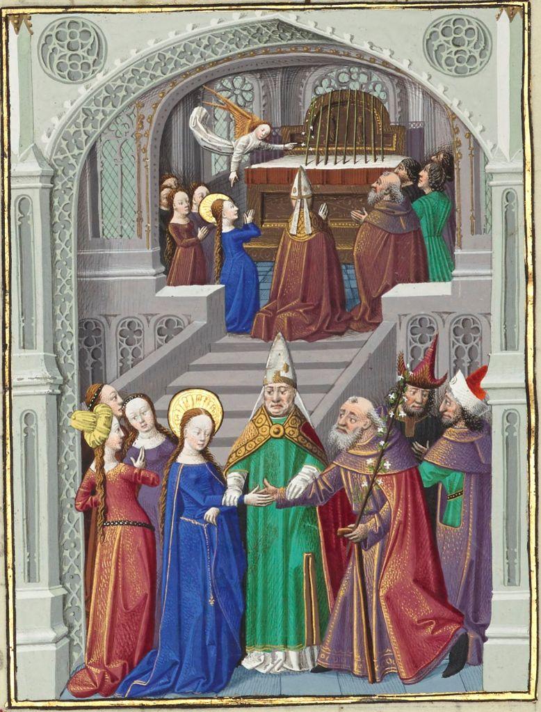 Illuminated manuscript. Wedding. Virgin Mary.
