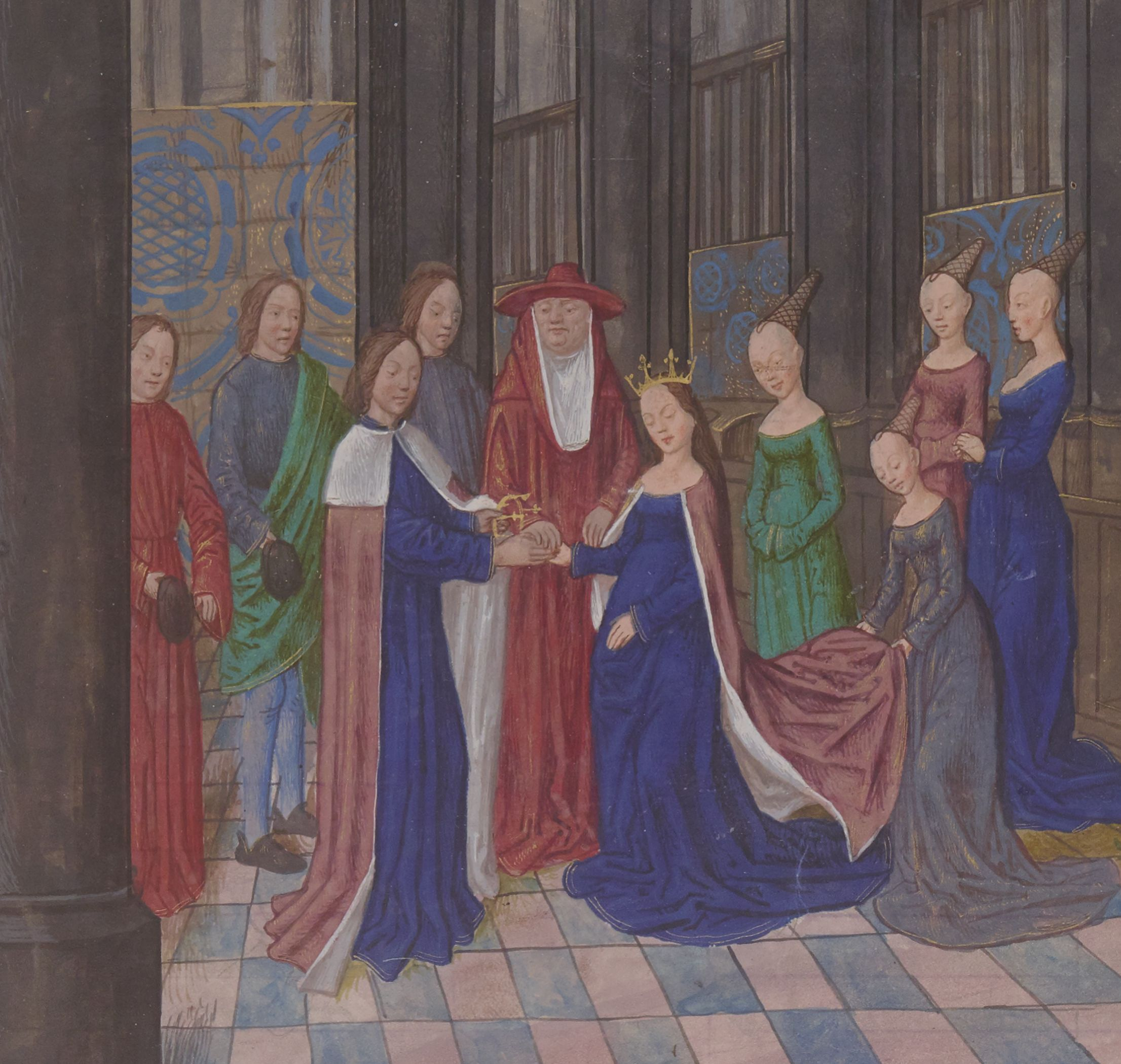 Illuminated manuscript. Wedding. Edward IV of England. Elizabeth of Woodville.