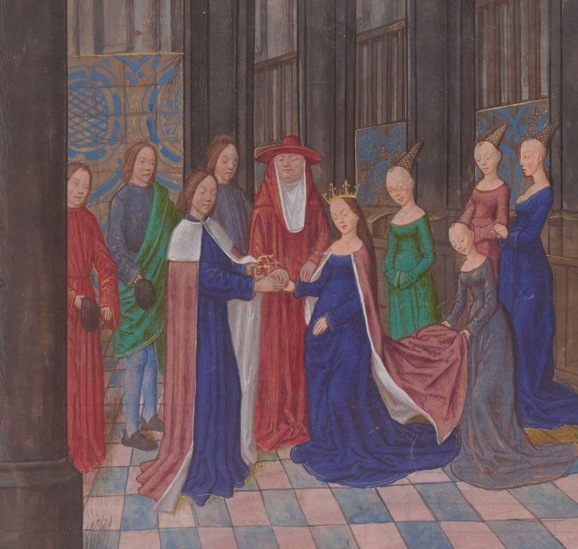 Illuminated manuscript. Wedding. Edward IV of England. Elizabeth of Woodville.