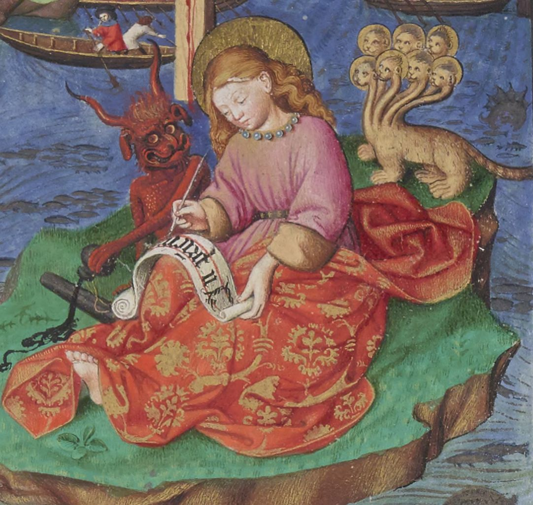 Illuminated Manuscript. St John. Apostle. Apocalypse