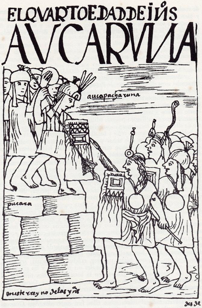In this drawing by Felipe Guaman Poma de Ayala, Native troops storm a pucara, or fortress. Guaman Poma de Ayala, Felipe. El primer nueva corónica y buen gobierno. Edited by John V. Murra and Rolena Adorno, 51/63. Mexico City: Siglo Veintiuno, 1980 [1615].