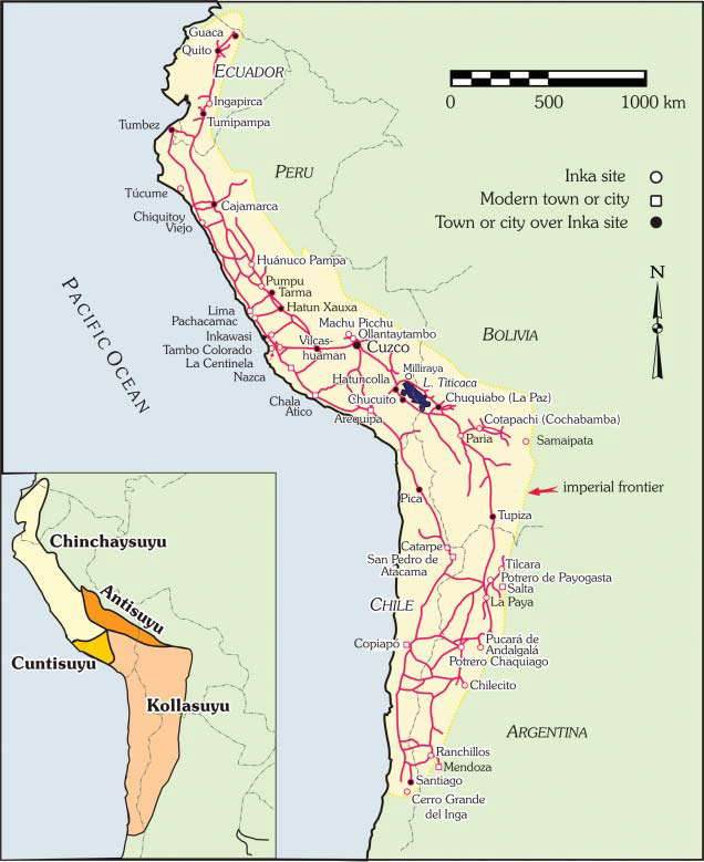 The Inca road and provincial installation (tampu) system, after Hyslop (1984): frontispiece; the four parts of the Inca relm are shown in the inset map. Terence N. D'Altroy, The Incas, 2nd ed. Oxford: Blackwell, 2015, Figure 1.1