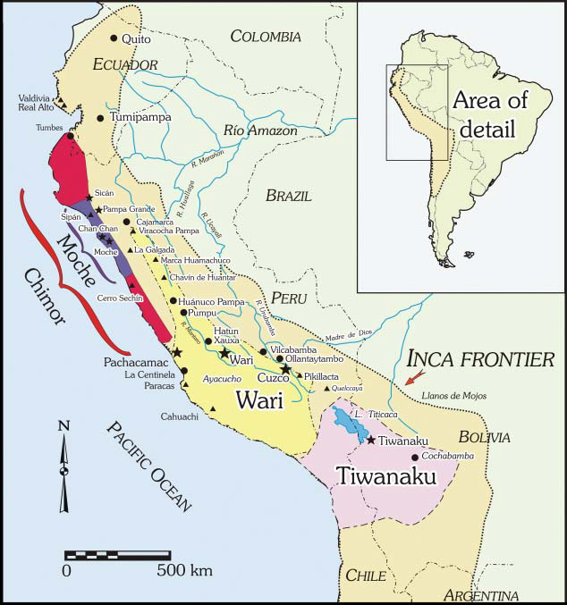 Locations of major pre-Inca sites and culture regions. The Inca road and provincial installation (tampu) system, after Hyslop (1984): frontispiece; the four parts of the Inca relm are shown in the inset map. Terence N. D'Altroy, The Incas, 2nd ed. Oxford: Blackwell, 2015, Figure 2.3