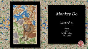 Medieval Illumination. Illuminated Manuscript. Chronique de Jean Froissart. Enluminure. Monkey playing music.