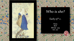 Medieval Illumination. Illuminated Manuscript. Enluminure. Grandes Heures de Jean de Berry. Mysterious Woman.