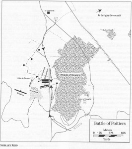 Map. Shelley Reid, Battle of Poitiers (1356), in The Oxford Encyclopedia of Medieval Warfare and Military Technology (2010), 3:135
