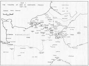 Map. A.J. Pollard, The Theatre of War in Northern France (1427-1450). John Talbot, Earl of Shrewsbury
