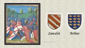 Heraldry. Héraldique. Knights of the Round Table. Chevaliers de la Table Ronde. Illumination. Enluminure. Medieval manuscript. Manuscrit médiéval.