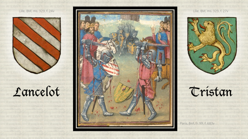 Heraldry. Héraldique. Knights of the Round Table. Chevaliers de la Table Ronde. Illumination. Enluminure. Medieval manuscript. Manuscrit médiéval.