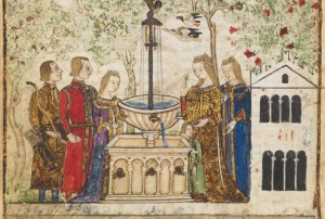 Gardens in the Middle Ages. Illuminated Medieval Manuscript. Illumination.