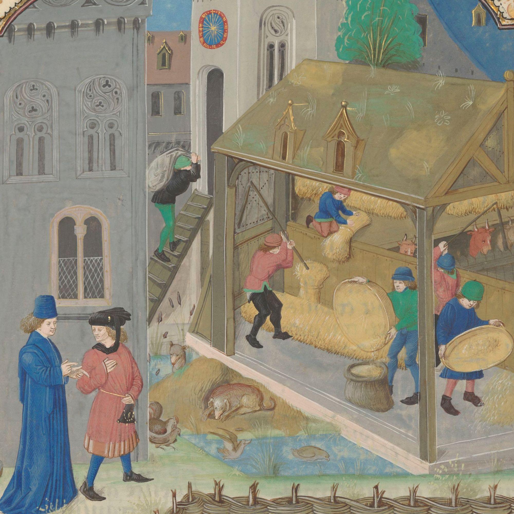 Urban Gardens in the Middle Ages. Illuminated Medieval Manuscript. Illumination.