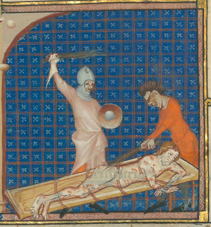 Medieval illumination. Torture. Bench. Ropes.