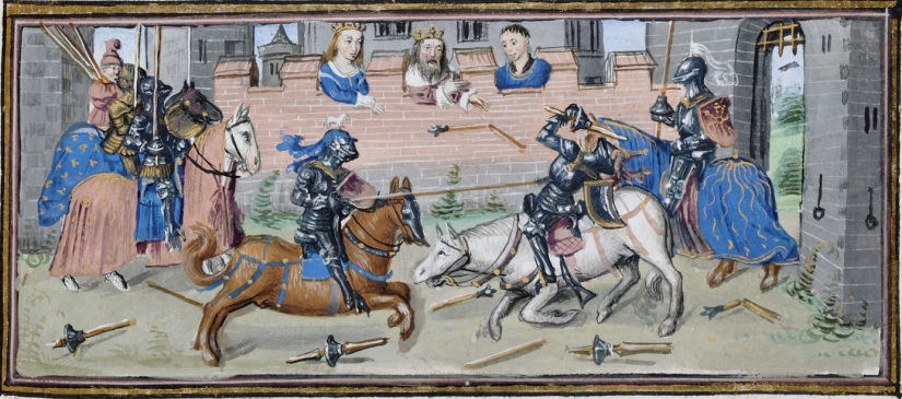 Illuminated Medieval Manuscript. Illumination. Jousting. Knights. Horses. Castle. Armors. Spears. King. Queen. Tournament. Heraldry. Gallop. Fall. Victory. Defeat. Shields.