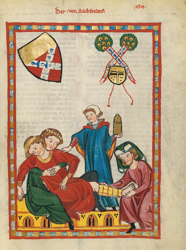 luminated Medieval Manuscript. Illumination. Knight. Tournament. Wound. Injury. Broken Leg. Lady. Spouses. Husband. Wife. Love. Doctors. Medicine. Bandage. Bed. Heal. Shield. Heraldry.