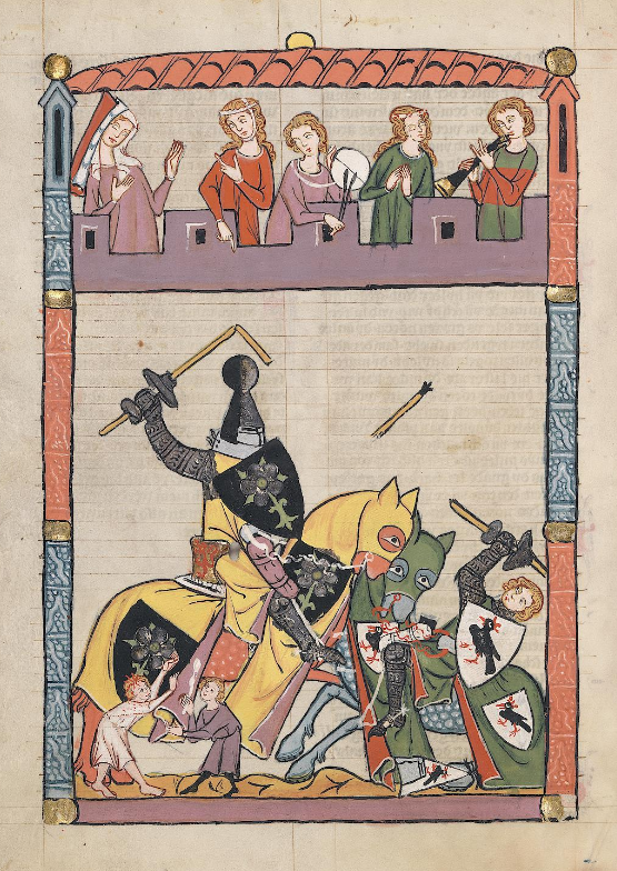 Illuminated Medieval Manuscript. Illumination. Jousting. Knights. Horses. Castle. Armors. Spears. Ladies. Admirers. Music. Tournament. Heraldry. Fall. Victory. Defeat. Shields.